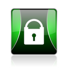 protect black and green square web glossy icon