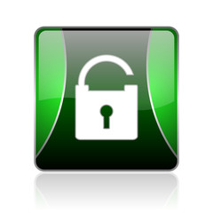 padlock black and green square web glossy icon