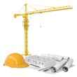 Drawings, tower crane and helmet