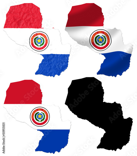 Paraguay flag over map collage
