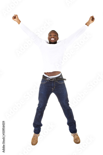 Young happy afro american man jumps in joy