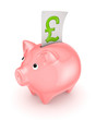 Piggy bank and symbol of pound sterling.