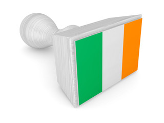 Wooden stamp with irish flag.