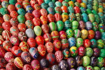Bright multicolored easter eggs