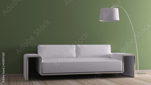 Modern interior with sofa animation