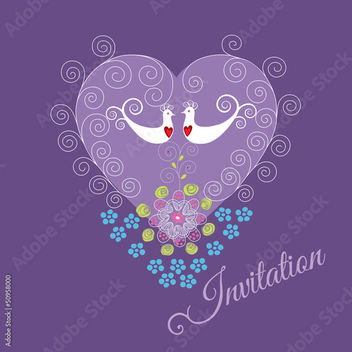 Purple invitation with two love birds, heart and flowers