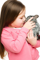 Little girl with chinchilla