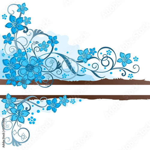 Brown grunge banner and turquoise flowers