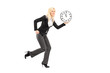 Full length portrait of a businesswoman running with clock
