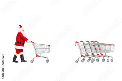 Full length portrait of a Santa Claus returning an empty shoppin