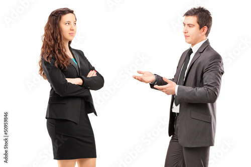 Young businesspeople having a conversation