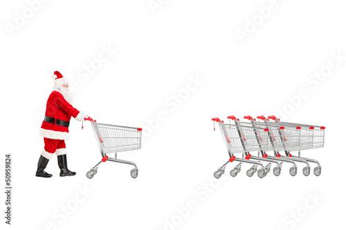 Full length portrait of a Santa Claus returning an empty shoppin