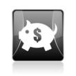 piggy bank black square web glossy icon