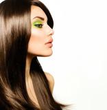 Fototapety Beautiful Brunette Girl. Healthy Long Brown Hair