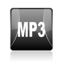 mp3 black square web glossy icon