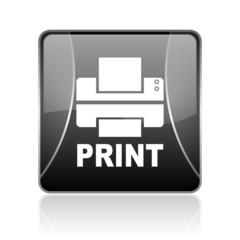 print black square web glossy icon