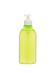 green plastic container with liquid soap isolated on white