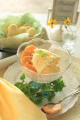 ピーチアイスクリームとクッキー