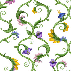 seamless natural lattice pattern with leaves and flowers