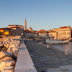 Harbour in Piran, Slovenia, Europe