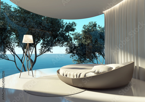 Atmospheric contemporary bedroom, round bed and outdoor view