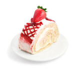 Strawberry cake on white plate