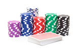 Stacks of Poker Chips with Playing Cards