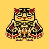 North american native art, owl