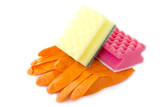 Rubber gloves and household sponges on a white background