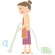 掃除をするお母さん
