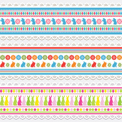 Set of Easter seamless pattern with rabbit