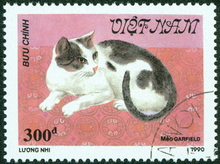 stamp printed in Vietnam, shows cat (Meo Garfield)