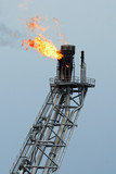 Flare boom nozzle and fire on offshore oil rig, thailand
