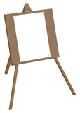 Tripod easel with a blank sheet of paper on the buttons