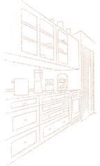 キッチン 食器棚 線画