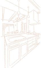 キッチン ダイニング 線画
