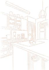 キッチン 線画