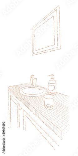 洗面台 線画