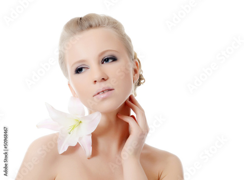 The beautiful woman with lily flower