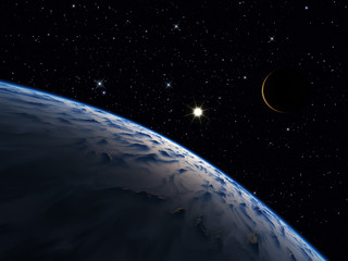 A planet with one moon.