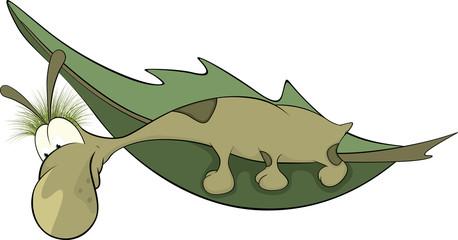 Green worm on a leaf. Cartoon