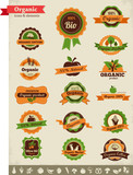 Organic food labels, tags and graphic elements poster
