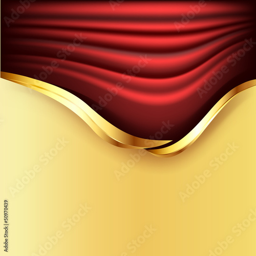 Background with red curtains and golden elements