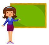 teacher standing next to a blackboard