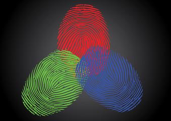 RGB - Red, Green, Blue fingerprint / thumbprint
