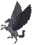 Cartoon black Pegasus