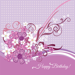 Happy Birthday card with pink and white flowers