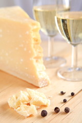 Parmesan cheese with white wine
