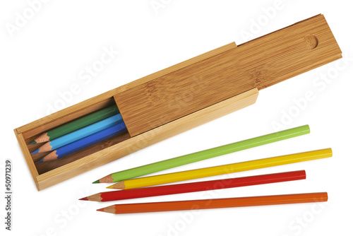 Opened wooden pencil boxes isolated ( clipping path )