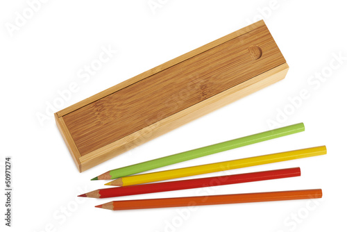 Closed wooden pencil boxes isolated ( clipping path )